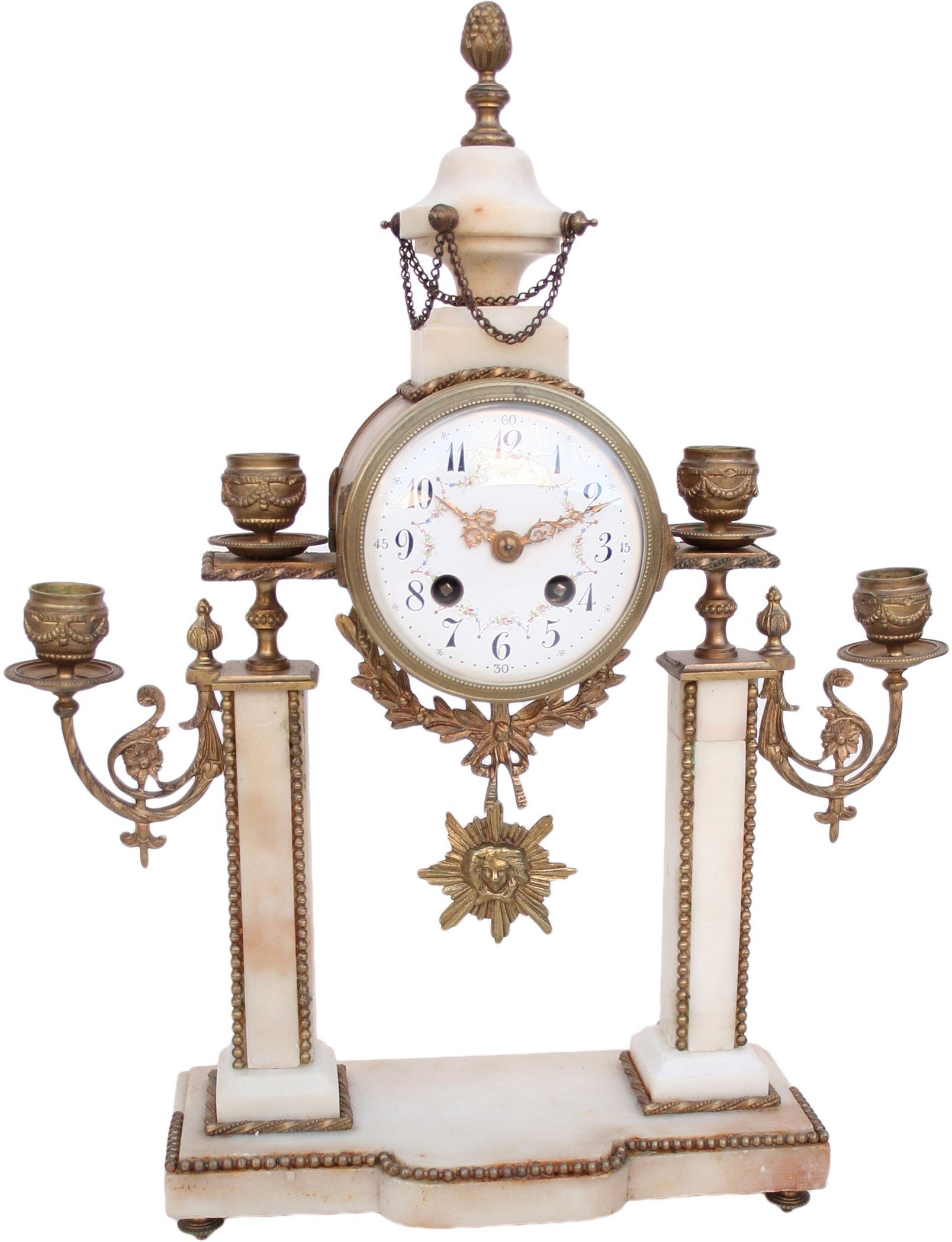 Antique French Portico Table Clock With Candle Holders